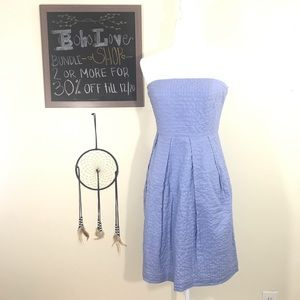 J. Crew Dusty Blue Tube Top Cocktail Dress
